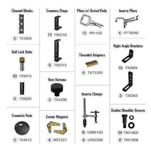 BuildPro Fixturing Kit, 128 Piece Square Tube Kit
